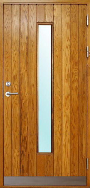 ytterdörr med stående panel och avlångt glas